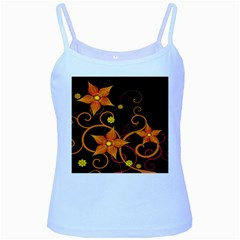 Star Leaf Orange Gold Red Black Flower Floral Baby Blue Spaghetti Tank by Mariart