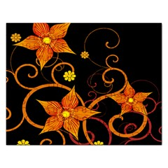Star Leaf Orange Gold Red Black Flower Floral Rectangular Jigsaw Puzzl by Mariart