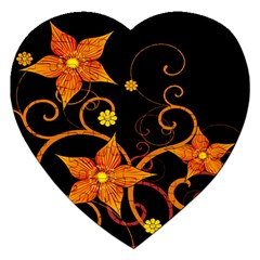 Star Leaf Orange Gold Red Black Flower Floral Jigsaw Puzzle (heart) by Mariart