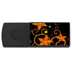 Star Leaf Orange Gold Red Black Flower Floral Usb Flash Drive Rectangular (4 Gb) by Mariart