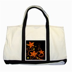 Star Leaf Orange Gold Red Black Flower Floral Two Tone Tote Bag by Mariart