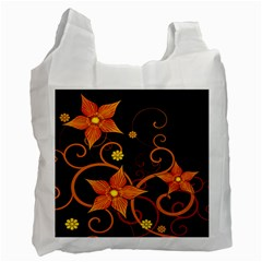 Star Leaf Orange Gold Red Black Flower Floral Recycle Bag (two Side)  by Mariart