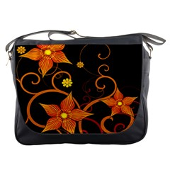 Star Leaf Orange Gold Red Black Flower Floral Messenger Bags by Mariart