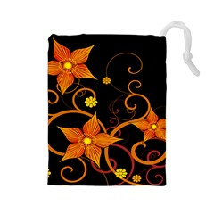 Star Leaf Orange Gold Red Black Flower Floral Drawstring Pouches (large)  by Mariart
