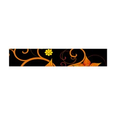 Star Leaf Orange Gold Red Black Flower Floral Flano Scarf (mini) by Mariart