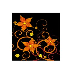 Star Leaf Orange Gold Red Black Flower Floral Satin Bandana Scarf by Mariart