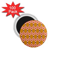 Orange Circle Polka 1 75  Magnets (100 Pack)  by Mariart
