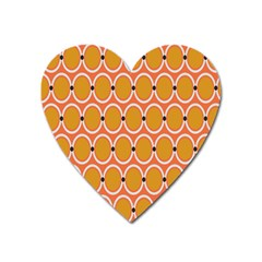 Orange Circle Polka Heart Magnet by Mariart