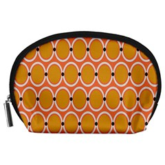 Orange Circle Polka Accessory Pouches (large)  by Mariart