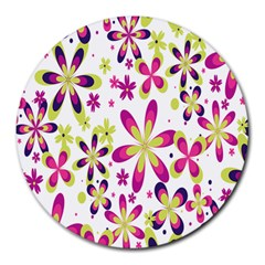 Star Flower Purple Pink Round Mousepads by Mariart
