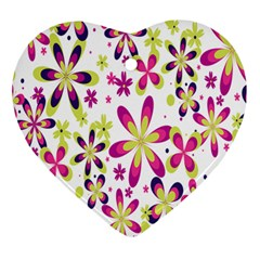 Star Flower Purple Pink Ornament (heart) by Mariart