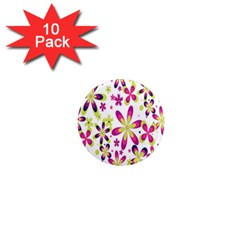 Star Flower Purple Pink 1  Mini Magnet (10 Pack)  by Mariart