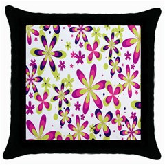 Star Flower Purple Pink Throw Pillow Case (black) by Mariart