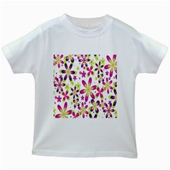 Star Flower Purple Pink Kids White T Shirts by Mariart