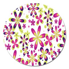 Star Flower Purple Pink Magnet 5  (round) by Mariart