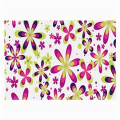 Star Flower Purple Pink Large Glasses Cloth (2 Side) by Mariart