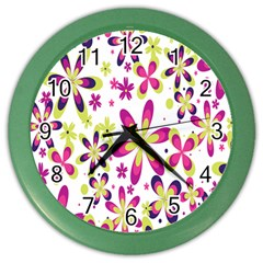 Star Flower Purple Pink Color Wall Clocks by Mariart