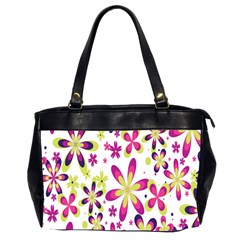 Star Flower Purple Pink Office Handbags (2 Sides)  by Mariart
