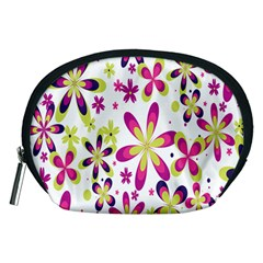 Star Flower Purple Pink Accessory Pouches (medium)  by Mariart