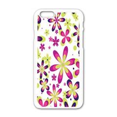 Star Flower Purple Pink Apple Iphone 6/6s White Enamel Case by Mariart