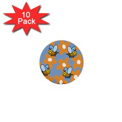 Wasp Bee Honey Flower Floral Star Orange Yellow Gray 1  Mini Buttons (10 Pack)  by Mariart