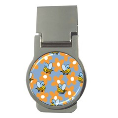 Wasp Bee Honey Flower Floral Star Orange Yellow Gray Money Clips (round)  by Mariart
