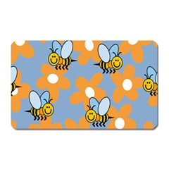 Wasp Bee Honey Flower Floral Star Orange Yellow Gray Magnet (rectangular)