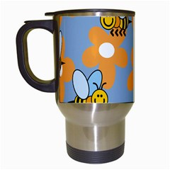 Wasp Bee Honey Flower Floral Star Orange Yellow Gray Travel Mugs (white) by Mariart