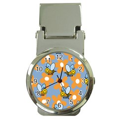 Wasp Bee Honey Flower Floral Star Orange Yellow Gray Money Clip Watches by Mariart