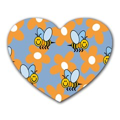 Wasp Bee Honey Flower Floral Star Orange Yellow Gray Heart Mousepads by Mariart
