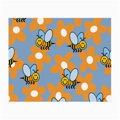 Wasp Bee Honey Flower Floral Star Orange Yellow Gray Small Glasses Cloth (2-side) by Mariart