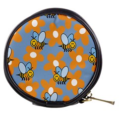 Wasp Bee Honey Flower Floral Star Orange Yellow Gray Mini Makeup Bags by Mariart