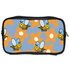 Wasp Bee Honey Flower Floral Star Orange Yellow Gray Toiletries Bags by Mariart