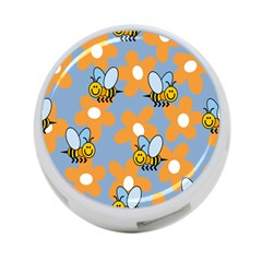 Wasp Bee Honey Flower Floral Star Orange Yellow Gray 4 Port Usb Hub (two Sides)  by Mariart