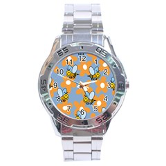 Wasp Bee Honey Flower Floral Star Orange Yellow Gray Stainless Steel Analogue Watch by Mariart