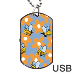 Wasp Bee Honey Flower Floral Star Orange Yellow Gray Dog Tag Usb Flash (one Side) by Mariart