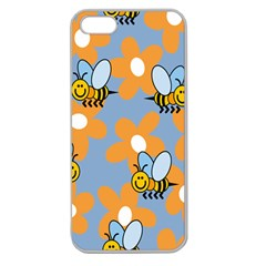 Wasp Bee Honey Flower Floral Star Orange Yellow Gray Apple Seamless Iphone 5 Case (clear) by Mariart