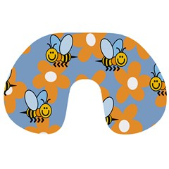 Wasp Bee Honey Flower Floral Star Orange Yellow Gray Travel Neck Pillows by Mariart