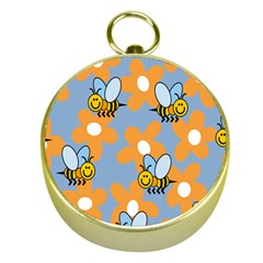 Wasp Bee Honey Flower Floral Star Orange Yellow Gray Gold Compasses by Mariart