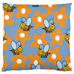 Wasp Bee Honey Flower Floral Star Orange Yellow Gray Standard Flano Cushion Case (two Sides) by Mariart