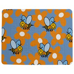 Wasp Bee Honey Flower Floral Star Orange Yellow Gray Jigsaw Puzzle Photo Stand (rectangular) by Mariart