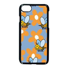 Wasp Bee Honey Flower Floral Star Orange Yellow Gray Apple Iphone 7 Seamless Case (black) by Mariart