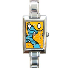 Wave Chevron Orange Blue Circle Plaid Polka Dot Rectangle Italian Charm Watch by Mariart
