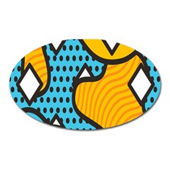 Wave Chevron Orange Blue Circle Plaid Polka Dot Oval Magnet by Mariart