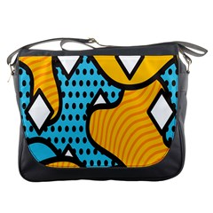 Wave Chevron Orange Blue Circle Plaid Polka Dot Messenger Bags by Mariart