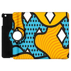 Wave Chevron Orange Blue Circle Plaid Polka Dot Apple Ipad Mini Flip 360 Case by Mariart