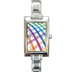 Webbing Line Color Rainbow Rectangle Italian Charm Watch by Mariart