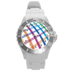 Webbing Line Color Rainbow Round Plastic Sport Watch (l) by Mariart