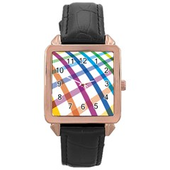 Webbing Line Color Rainbow Rose Gold Leather Watch  by Mariart