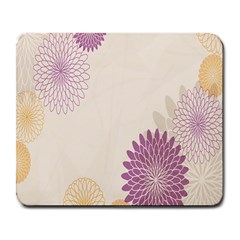 Star Sunflower Floral Grey Purple Orange Large Mousepads by Mariart